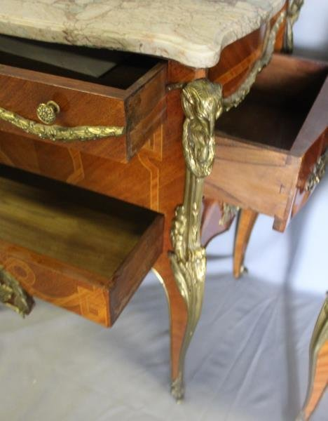 Pair of Louis XV Style Satine Marquetry and - 4