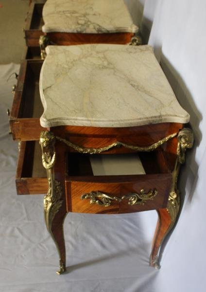 Pair of Louis XV Style Satine Marquetry and - 5