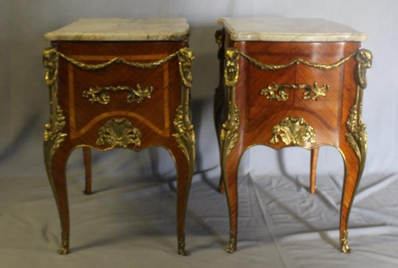 Pair of Louis XV Style Satine Marquetry and - 7