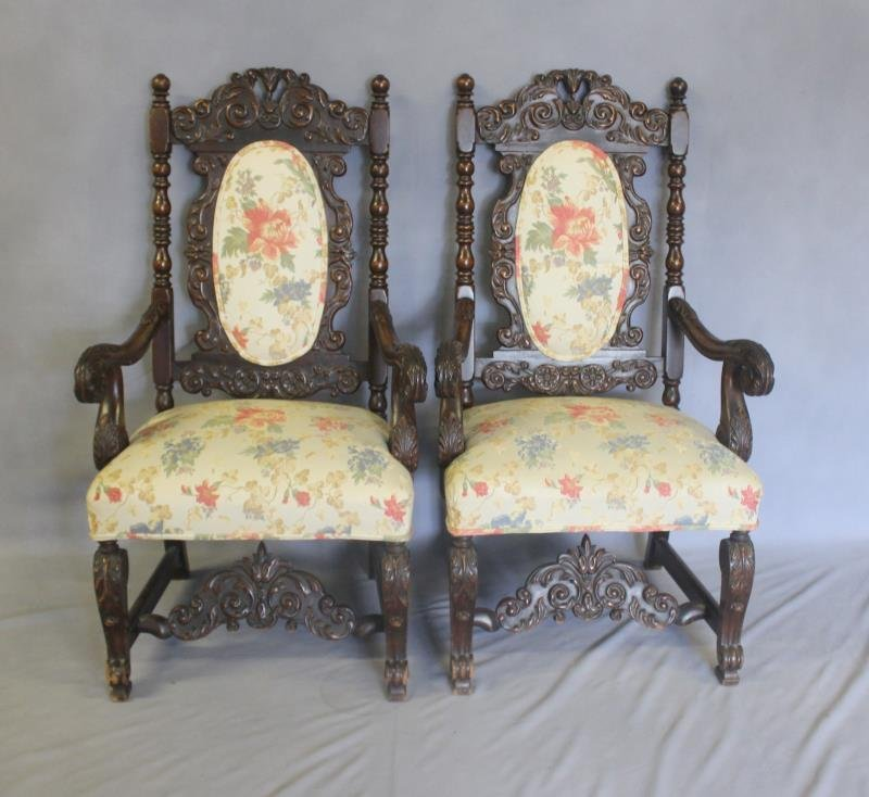 Pair of Highly Carved High Back Arm Chairs.