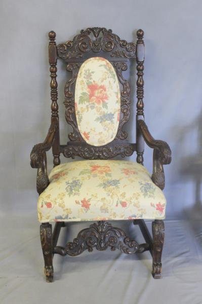 Pair of Highly Carved High Back Arm Chairs. - 2
