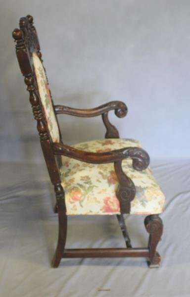 Pair of Highly Carved High Back Arm Chairs. - 5