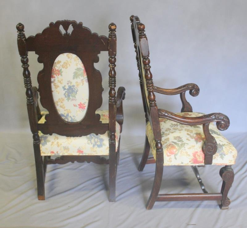 Pair of Highly Carved High Back Arm Chairs. - 6