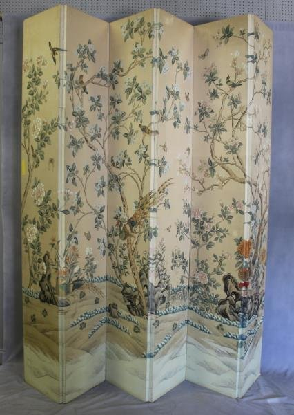 Large Decorative Hand Painted 5 Panel Screen.