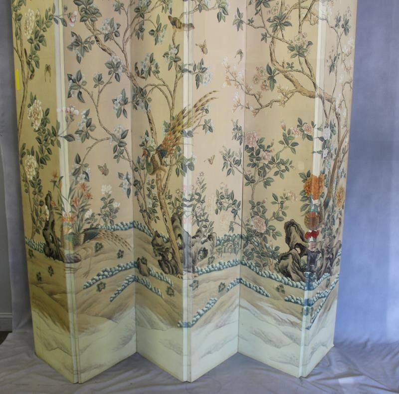 Large Decorative Hand Painted 5 Panel Screen. - 2