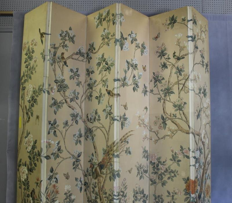Large Decorative Hand Painted 5 Panel Screen. - 3