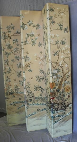Large Decorative Hand Painted 5 Panel Screen. - 4