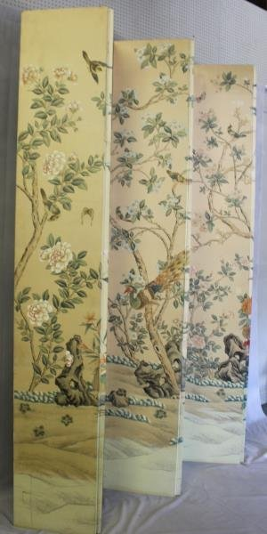 Large Decorative Hand Painted 5 Panel Screen. - 5
