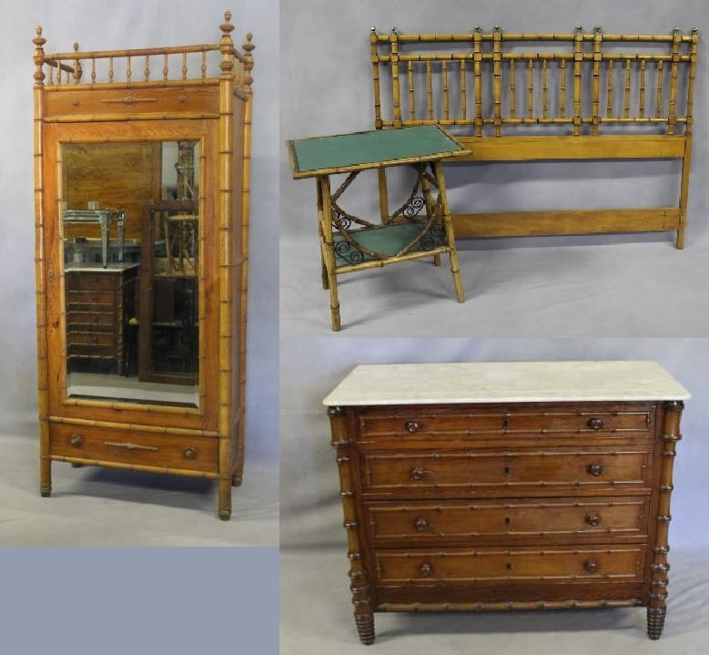 4 Piece Antique Bamboo Form Bedroom Set.