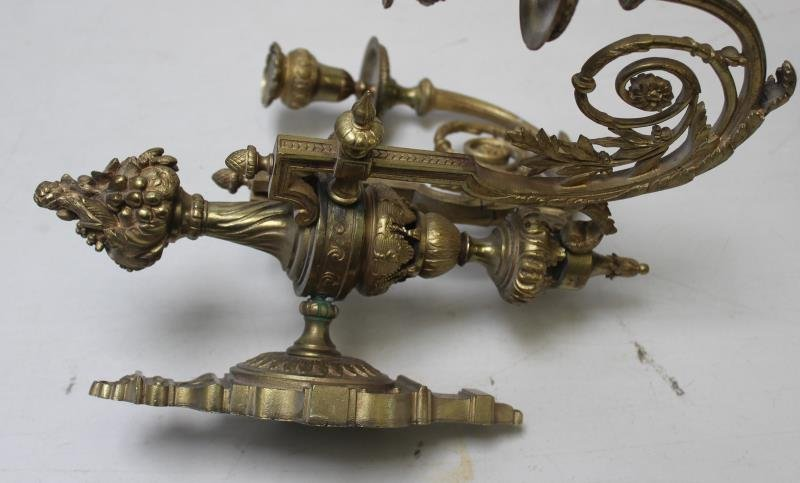 Pair of Two Arm Brass Sconces. - 4