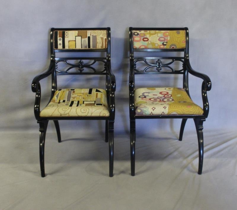 Pair of Regency Style Black Lacquered Arm Chairs.