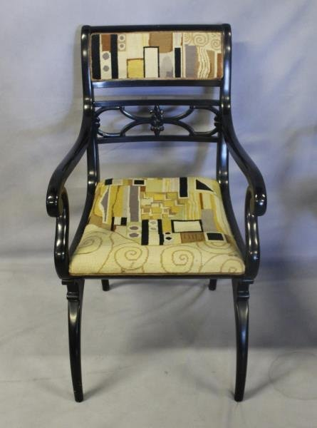 Pair of Regency Style Black Lacquered Arm Chairs. - 2