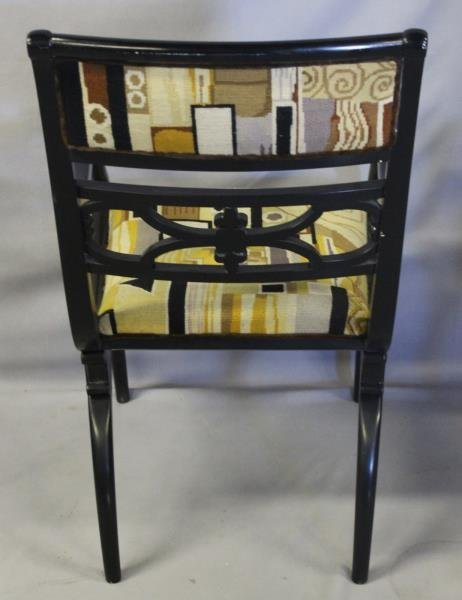 Pair of Regency Style Black Lacquered Arm Chairs. - 4