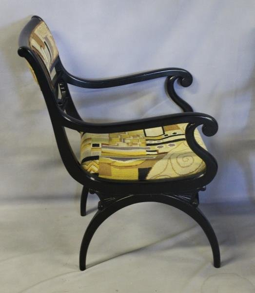 Pair of Regency Style Black Lacquered Arm Chairs. - 5