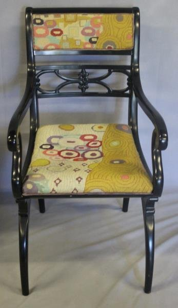 Pair of Regency Style Black Lacquered Arm Chairs. - 6