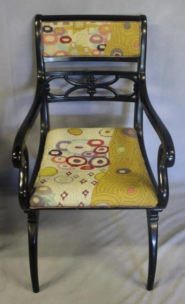 Pair of Regency Style Black Lacquered Arm Chairs. - 7