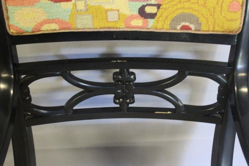 Pair of Regency Style Black Lacquered Arm Chairs. - 8