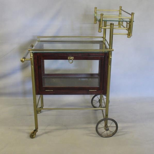 Vintage Bar Cart with Glass Panels and Lucite Bar.