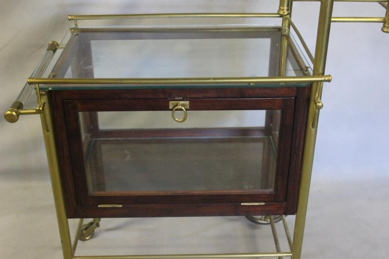 Vintage Bar Cart with Glass Panels and Lucite Bar. - 2