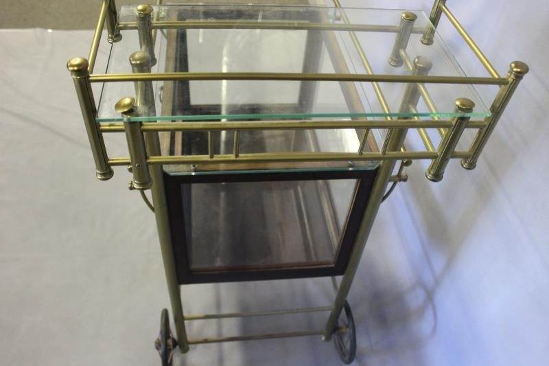 Vintage Bar Cart with Glass Panels and Lucite Bar. - 4