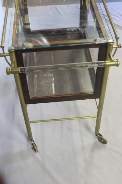 Vintage Bar Cart with Glass Panels and Lucite Bar. - 5