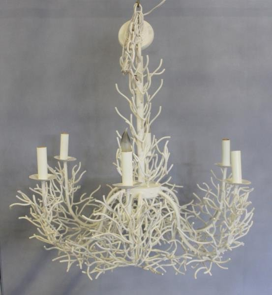 Modern Coral Form Metal Chandelier.