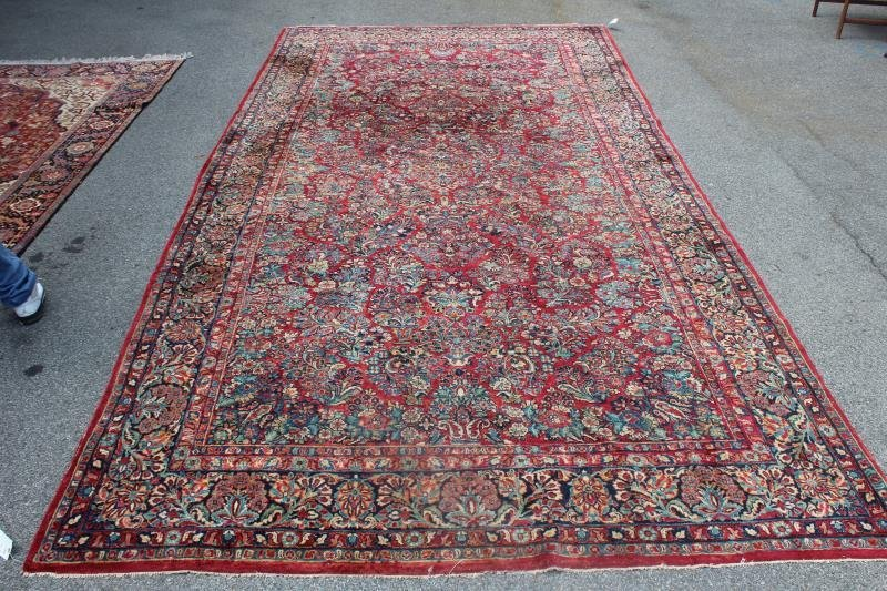 Finely Woven Antique Handmade Sarouk Carpet.
