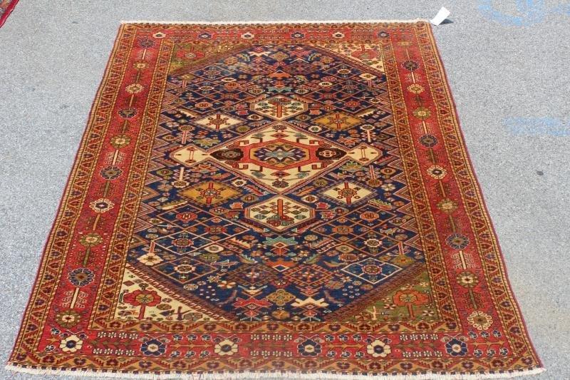 Finely Woven Antique Kazak Style Throw Rug.