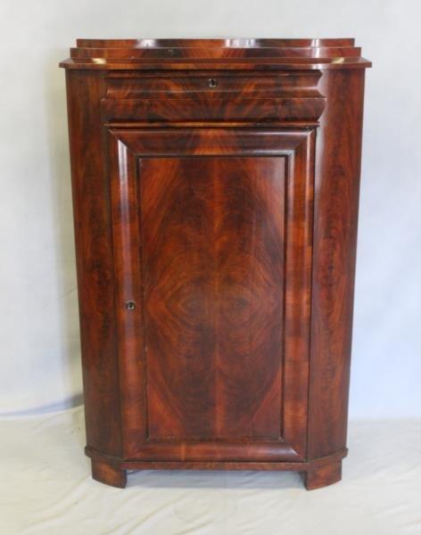 19 Century Flame Mahogany Corner Cabinet.