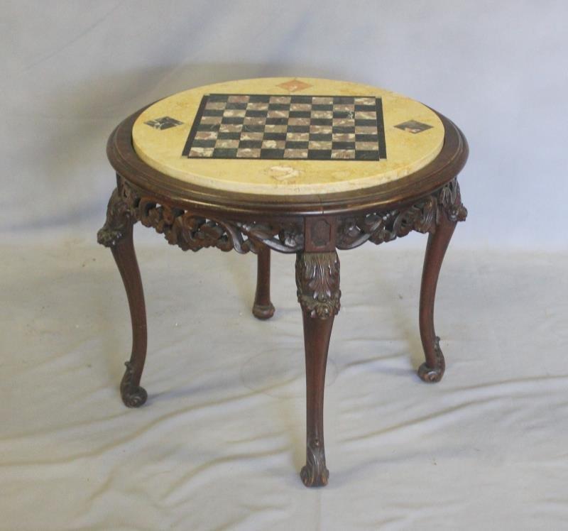 Specimen Stone Top Louis XV Style Game Table.