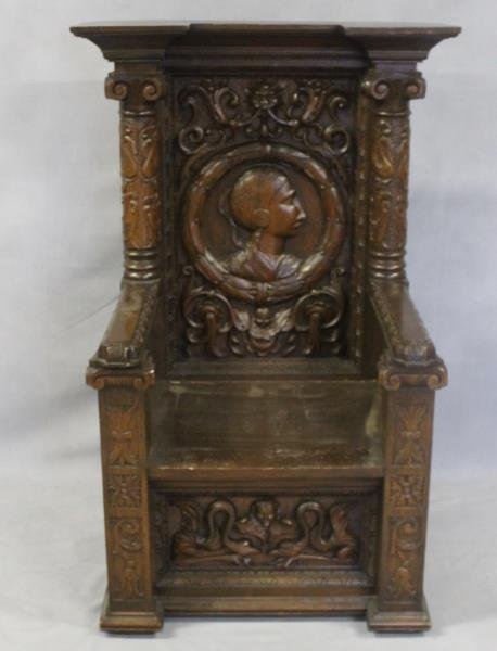 Antique Highly Carved Throne Chair.