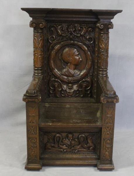 Antique Highly Carved Throne Chair. - 2