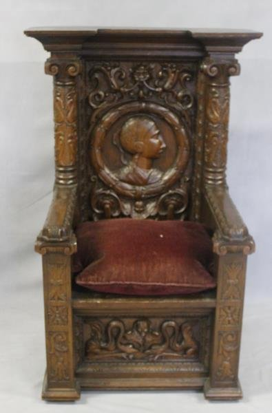 Antique Highly Carved Throne Chair. - 6