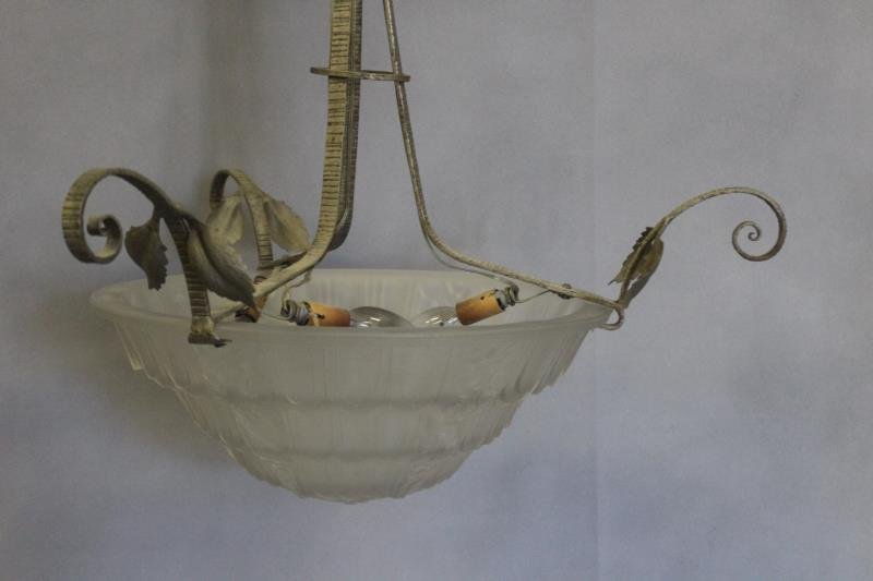 French Art Deco Lalique Style Chandelier . - 3