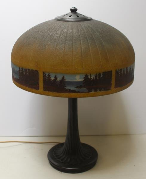 Handel Signed and Reversed Painted Table Lamp.