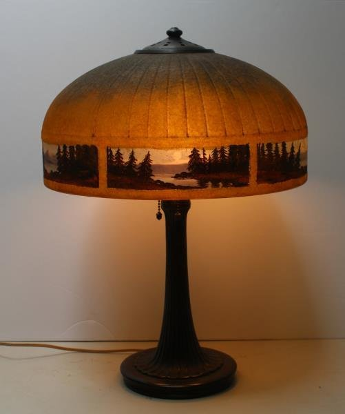 Handel Signed and Reversed Painted Table Lamp. - 2