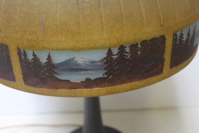 Handel Signed and Reversed Painted Table Lamp. - 3