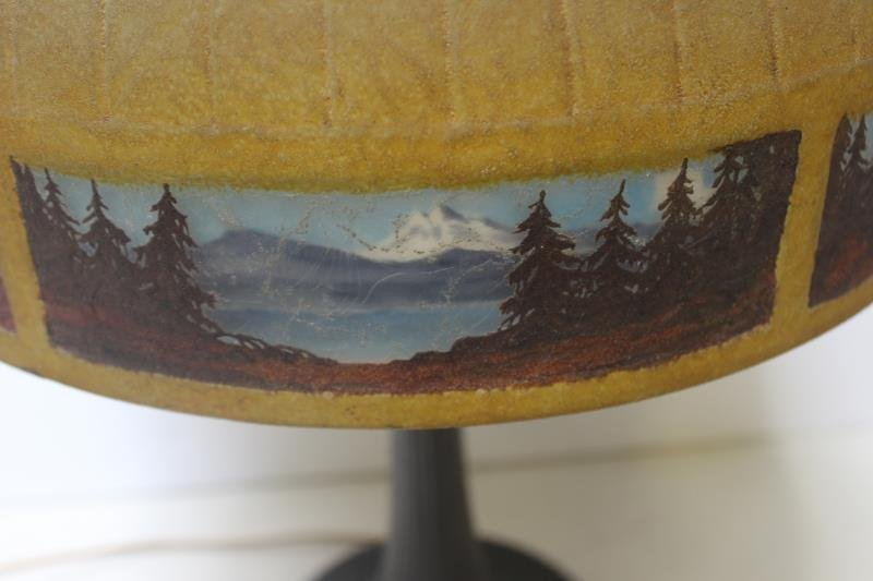 Handel Signed and Reversed Painted Table Lamp. - 4