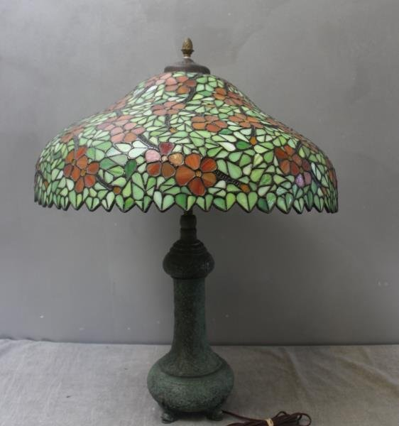 HANDEL. Signed Leaded Glass Shade with Patinated