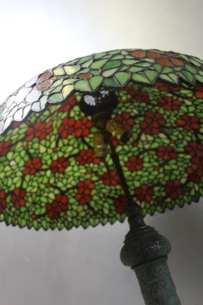 HANDEL. Signed Leaded Glass Shade with Patinated - 3