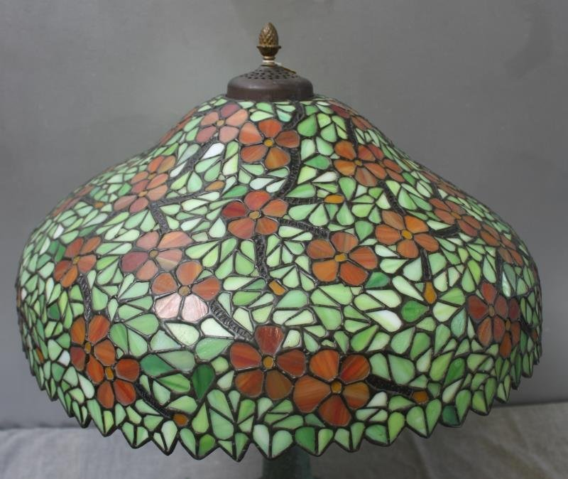 HANDEL. Signed Leaded Glass Shade with Patinated - 4