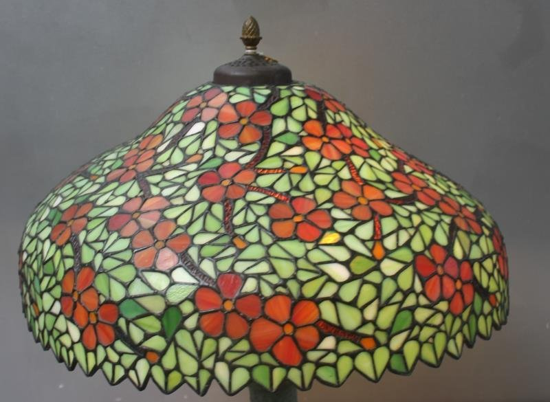 HANDEL. Signed Leaded Glass Shade with Patinated - 5