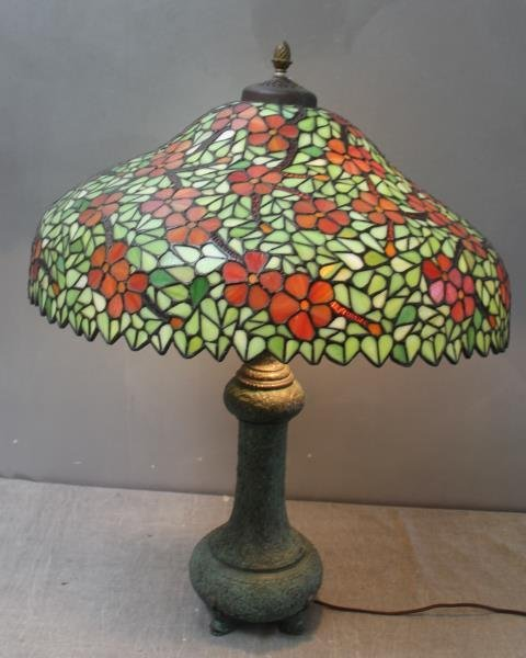 HANDEL. Signed Leaded Glass Shade with Patinated - 6