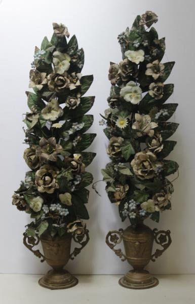 Pair of Tole Painted Flowering Trees in Urn From