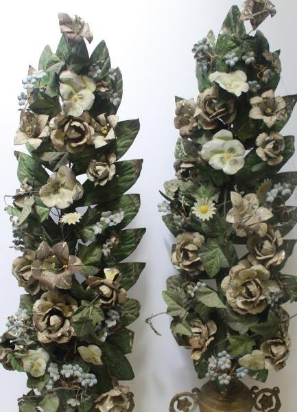 Pair of Tole Painted Flowering Trees in Urn From - 2