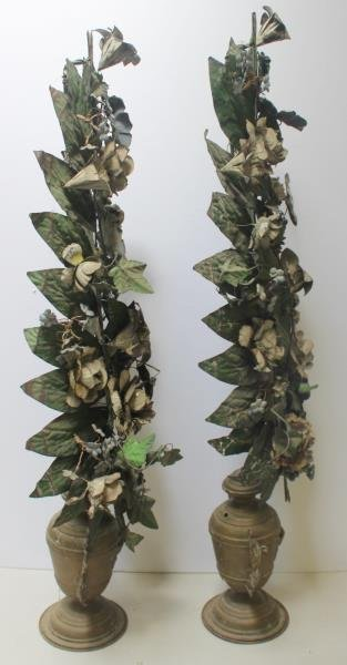 Pair of Tole Painted Flowering Trees in Urn From - 5