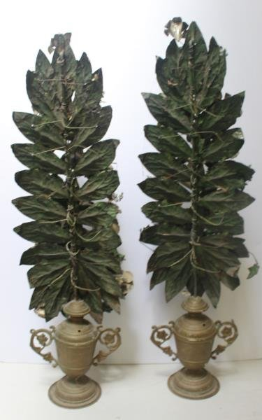 Pair of Tole Painted Flowering Trees in Urn From - 6