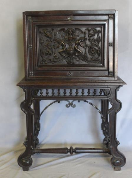 Antique Vergueno Style Highly Carved Desk On Stand