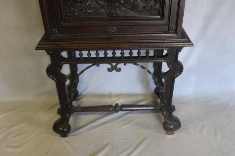 Antique Vergueno Style Highly Carved Desk On Stand - 3