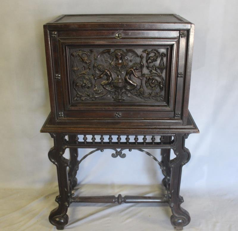 Antique Vergueno Style Highly Carved Desk On Stand - 4